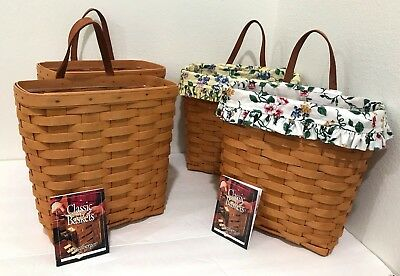 Longaberger Lot of FOUR 4 Tall Key Basket Combo's with Leather Hangers