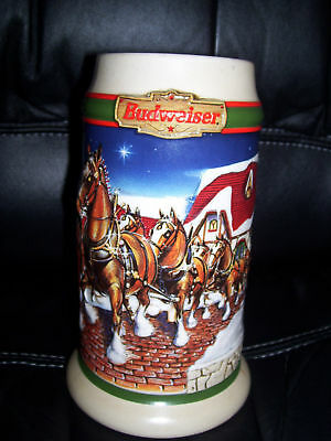 "1998 Budweiser Clydesdales Horses Holiday Stein "" Grant's Farm Holiday "" Cs343"