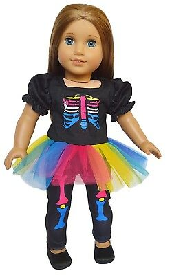 Skeleton Halloween Costume Fits 18 Inch American Girl Doll Clothes