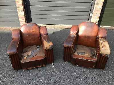 Very Rare Antique French Pair of 1930's Art Deco Leather Club Arm Chair Vintage