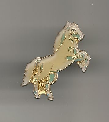 Vintage White Horse on Hind Legs old enamel pin