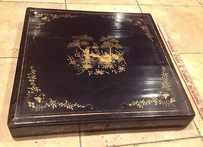 19TH CENTURY CHINESE BLACK LACQUERED LAP DESK Box Gold Gilt Design Nice! 18 1/2""