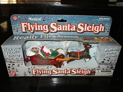 Vintage musical flying Santa in Sleigh Pulled by Reindeer  ABL INNNOVATION