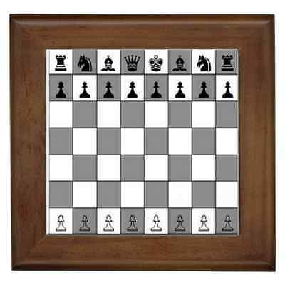 Chess Board Chess Print Ceramic Framed Tile-Wall Deco, Art Superb Gift Item
