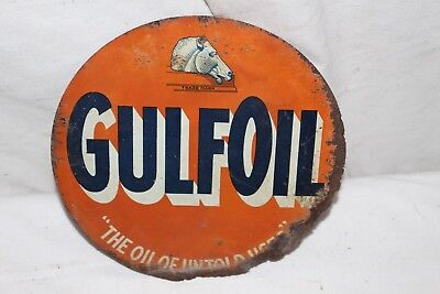 Rare Vintage 1940's Gulf Gulfoil Handy Oiler Can Display Gas Station Metal Sign