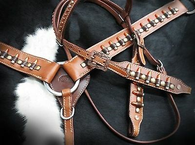 "Showman "" Ammo Belt "" Leather Bridle & Breast Collar Set! NEW HORSE TACK!"
