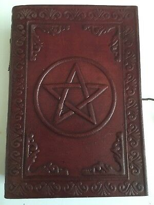 Hand Made Leather Bound Book/Journal Natural Recycled Paper Pentagram 12.5x9 cm