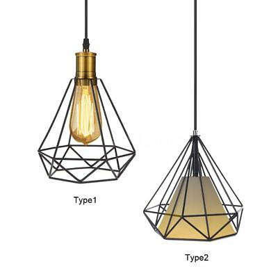 Industrial Vintage Cage Pendant Light Iron Art Diamond Wrought Ceiling Lamp A1I9