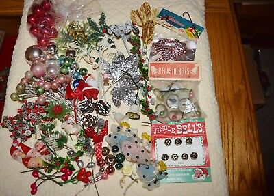 Vintage Lot Christmas Corsage Craft Items Mercury Glass Bells Santas Angels Pine