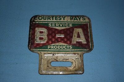 Vintage B-A British American Oil Licence License Plate Topper
