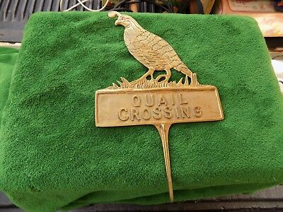 Rare Vintage Brass Quail Crossing Sign Estate Find