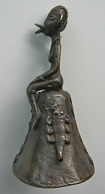 Rare, Vintage, Burkina Faso,Dogon, Cast Bronze Bell/ Woman, Snake, Scorpion
