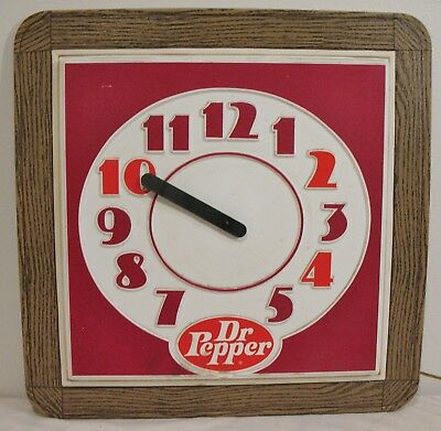 """Vintage DR. PEPPER Wall Clock ~ Electric HOWARD Decorator Series 22"""" Square"""