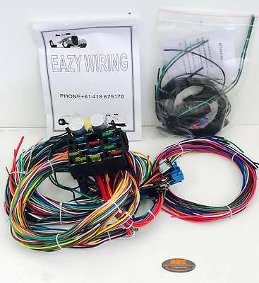Hot Rod Eazy Wiring Harness 12 Circuit + Headlight & Dipper Switch - Ford, Chev