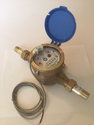 "DAE MJ-50 Lead Free Potable Water Meter, 1/2"" NPT Couplings, Pulse Output+Gallon"