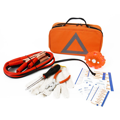 Roadside Assistance Emergency Kit First Aid Jumper Cables Reflective Triangle