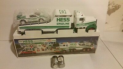 1991 hess toy truck and racer. with box and batteries