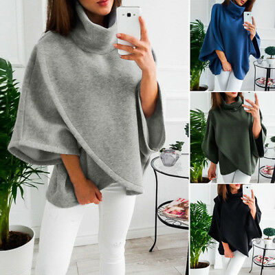 Women Winter Fashion Cape Poncho Warm Overcoat Jacket Coats Loose Tops Sweater