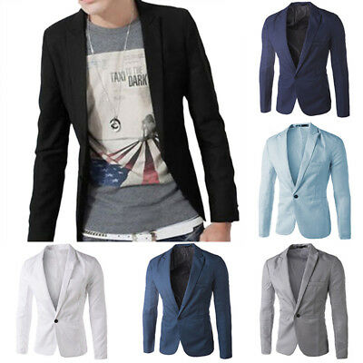 Mens Formal Suit Coat Blazer One Button Wedding Jacket Casual Slim Stylish Soft