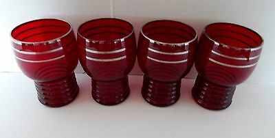 Ruby Red Royal Red Set of Four Cordial Glasses Ribbed Bottom Silver Trim Top