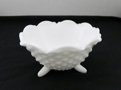 L. E. Smith Mount Pleasant Pattern Milk Glass Flared Hobnail Footed Bowl