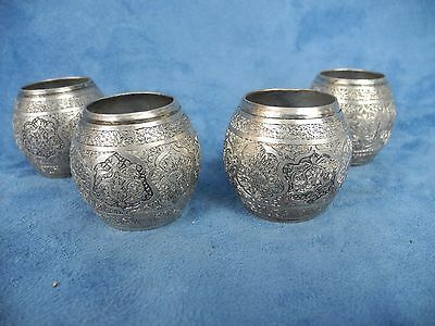 Antique Persian Middle East Arabic 84 Silver 4 Napkin Ring Signed