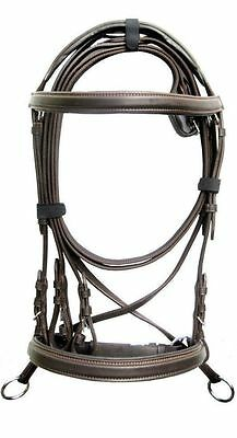 New Leather Cross Over Bitless Bridles with Reins Brown Cob Bridle English @!