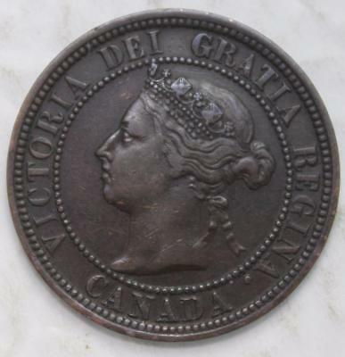 1887 Large Cent, Nice Grade, Old Date Queen Victoria