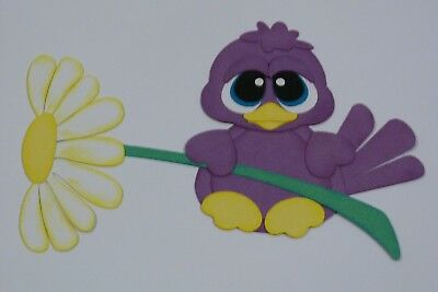 Big Eyed Birdie Holding A Daisy Fully Assembled In Violet