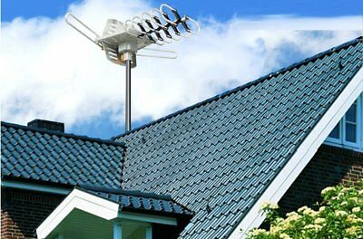 1080P HDTV Outdoor Amplified Antenna HD TV 36dB Rotate Remote 360°UHF VHF150Mile