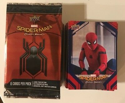 2017 Upper Deck Spider-Man Homecoming Movie Complete 100-Card Base Set