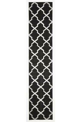 80x400cm Runner Modern Floor Rug ICONIC BLACK WHITE Cross Hatch Trellis Mat IC71