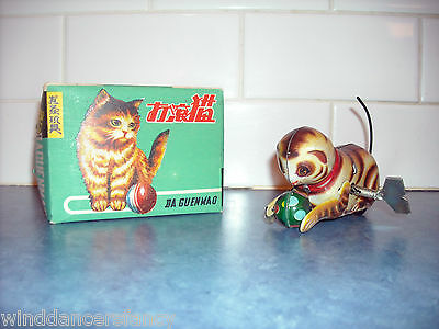 Vintage Tin Litho Toy Cat Wind Up Pushes Ball Twirls Tail Rolls Over  Da Guenmao