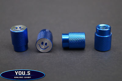 4 Pcs Smiley Valve Caps in Blue for Cars Trucks Motorcycle - NEW