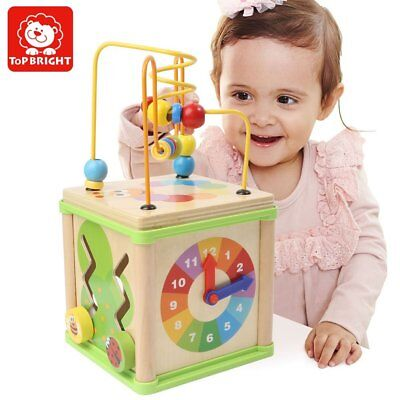 TOP BRIGHT Bead Maze and Shape Sorting Cube Wooden Box Intelligence Baby Wooden