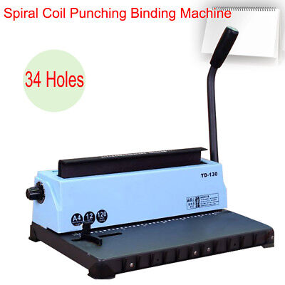 Manual All Steel Metal Spiral Coil 34 Holes Punching Binding Machine Easy Use