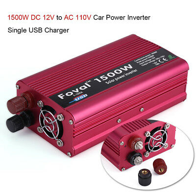 1500W Car Solar Power Inverter DC 12V to AC 110V Modified Sine Wave Converter
