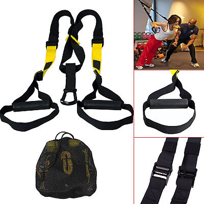 Suspension Trainer Straps Fitness Kit TOTAL Body Weight Exercise For Home & Gym