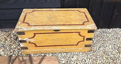 Victorian Painted Pine Chest Box Coffer Coffee Table Bed End Bedroom Blanket