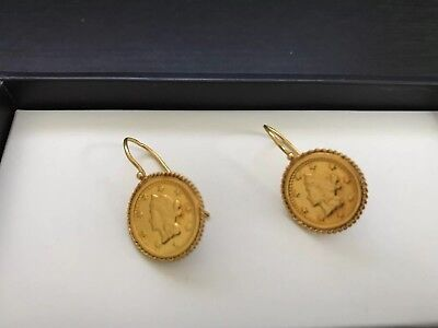 PORTUGUESE solid 19.25k Gold - Earrings -  Free & insured Postage