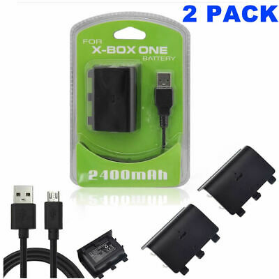 2x Rechargeable Battery Pack & Charging Cable for Xbox One S Controller