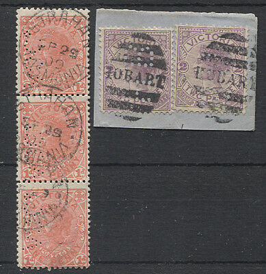VICTORIA   Tasmanian Ship Mail cancels on 1d & 2d QV with private perfins - AOCo