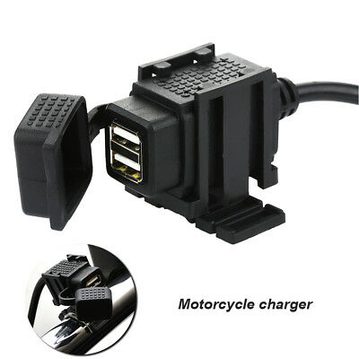12v Waterproof  Motorcycle 2-USB Charger Power Socket Adapter Outlet