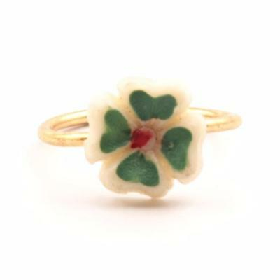 Vintage German childrens 4 leaf clover flower lucky costume jewelry ring