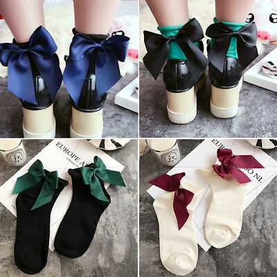 Women Fashion Cotton Socks Big Bow Solid Casual Female Short Socks Cute BowKnot