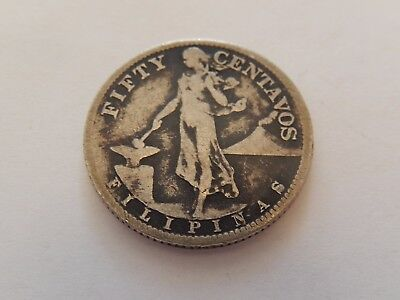 1918s U.S./Philippines 50 Centavos SILVER COIN; INVERTED S ???
