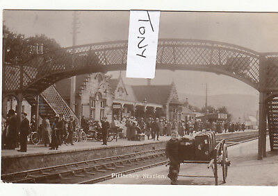 Real Photo PITLOCHRY Railway Station BUSY INTERIOR VIEW Superb