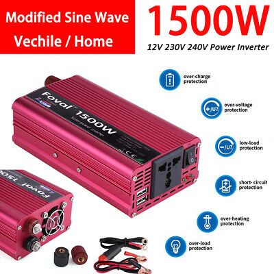 1500W DC 12V to AC 230V Car Power Inverter Charger Converter 4.8A Dual USB Port