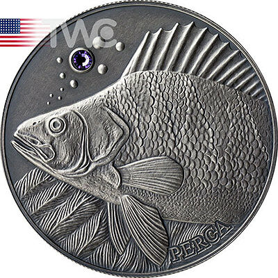 Andorra 2014 10 diners Perch - Atlas of Wildlife Antique finish Silver Coin