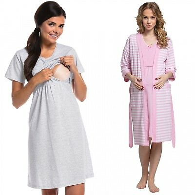 Zeta Ville - Women's maternity breastfeeding stripes set robe nightdress - 190c